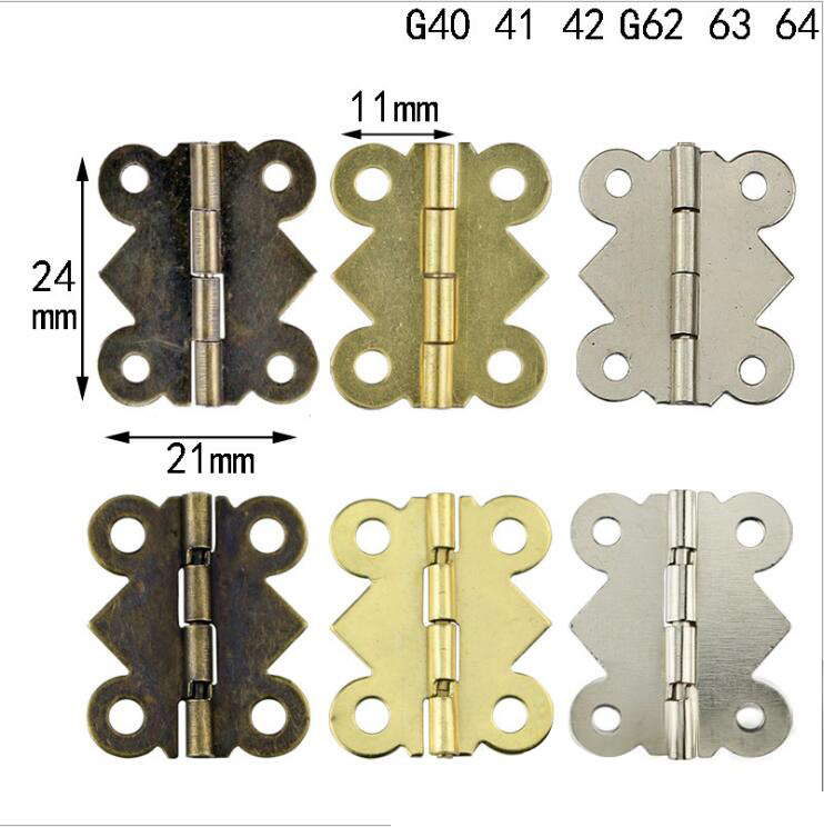 10 Pcs 90/180 Degrees 24*21MM Butterfly Small Hinge Cabinet Hardware Accessories Lace Hinge Hinge Wooden Box