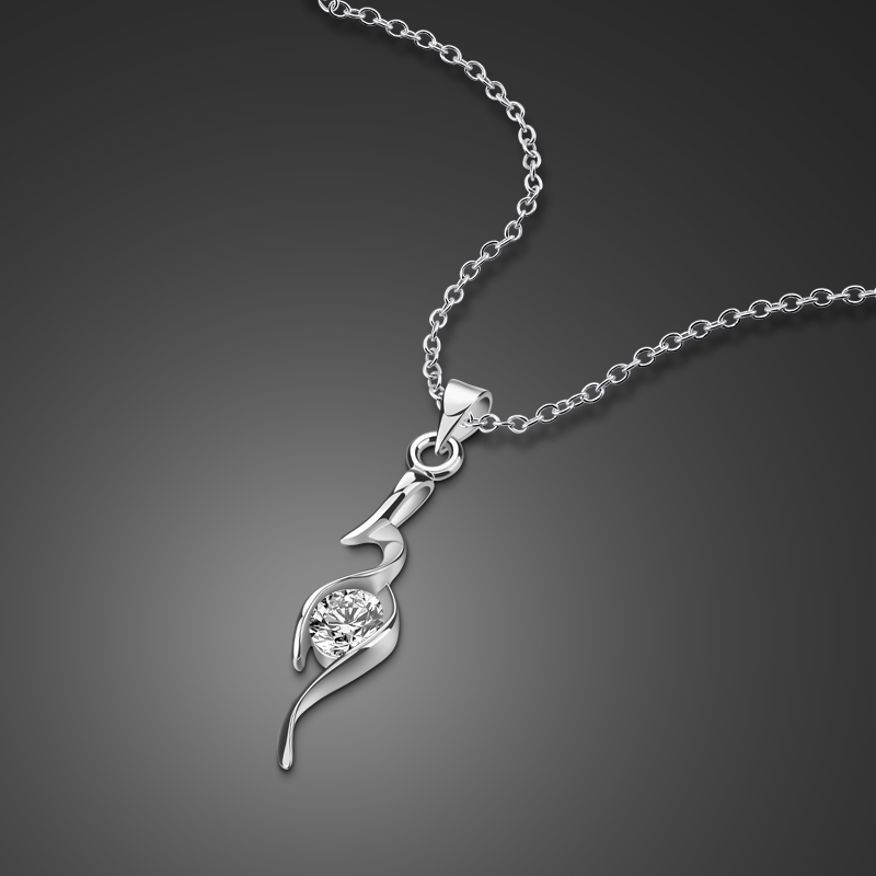 100% True New 925 Silver Necklace Girls Cross Pendant Design Solid Silver Clavicle Necklace 46cm Size Charm Jewelry A Birthday Present Necklaces & Pendants