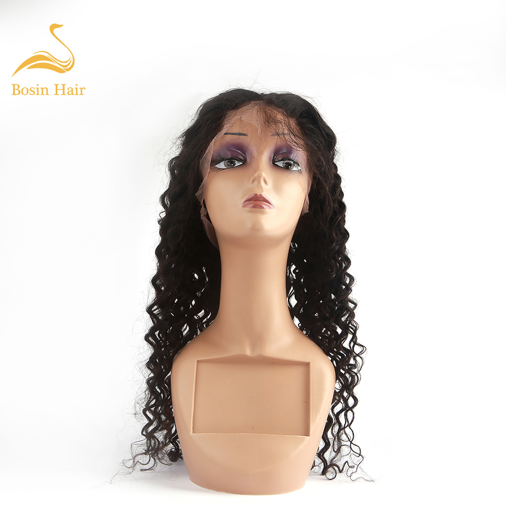 Human-Hair Curly Wigs Lace Baby with Bosin Pre-Plucked 130%Density