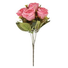 Artificial  Silk Flower 6 Head Rose Bouquet Hand Holding Bud Star Wedding Home Decoration DIY Wall
