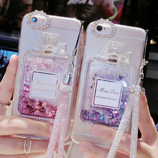 Dynamic Liquid Quicksand Cover Case For iPhone 6 6S Plus Luxury Rhinestone Phone Case For iPhone 7 7 Plus Free Crystal Lanyard
