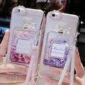 Dynamic liquid quicksand case para iphone 6 6 s plus rhinestone de lujo cajas del teléfono cubierta para iphone 7 7 plus envío de cristal cordón