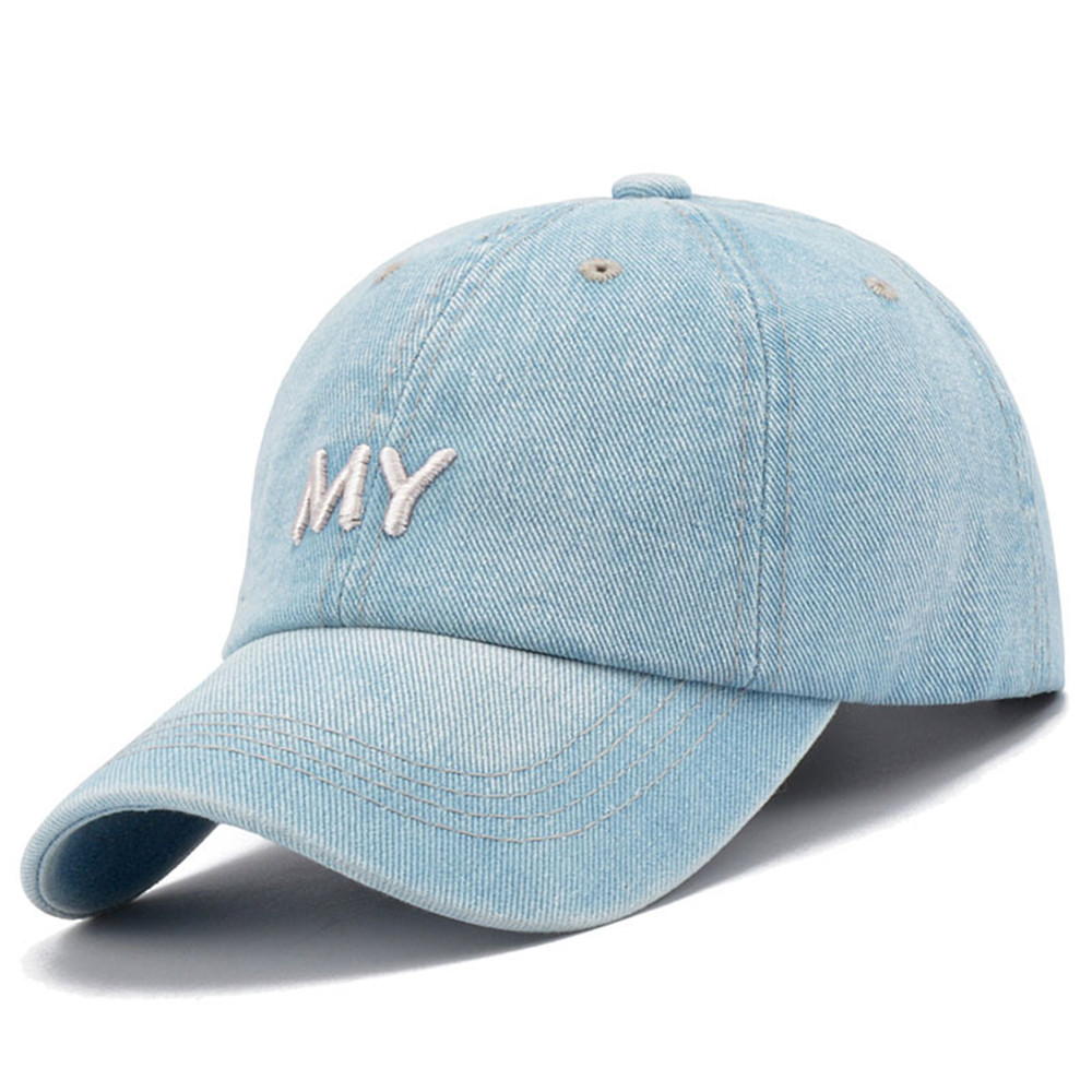 0b9dadcf3ce men women Denim Plain Solid Blue Jeans Style embroidered MY Baseball ...