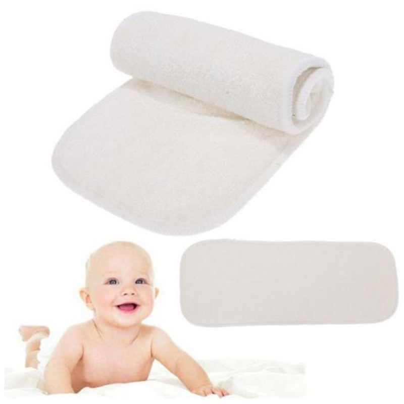 New Diapers 4 Layers Bamboo Fiber Insert Nappy Liners Soft Comfortable Infant Baby Cloth Nappy Diaper Washable Newborn Nappies