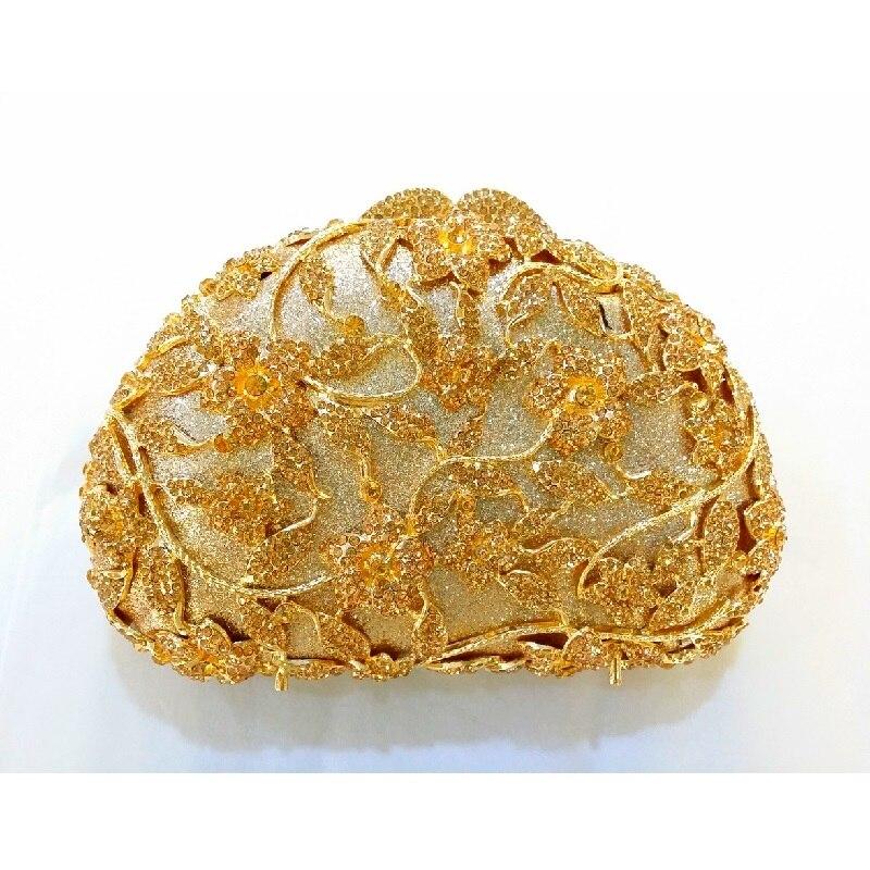 ФОТО 8368 Gold Crystal floral flower Wedding Bridal Party Night  hollow Metal Evening purse clutch bag box case handbag