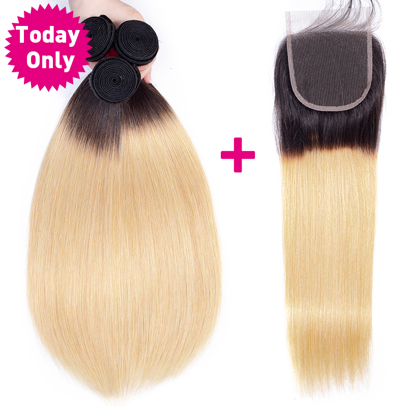 TODAY ONLY Peruvian Straight Hair Bundles With Closure Ombre Bundles With Closure Blonde Peruvian Hair Bundles With Closure
