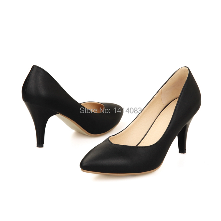 Japanese sweet college style sexy pointed toe pumps plain white ...