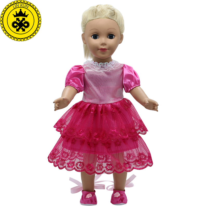 American Girl Doll Accessories Red Lace Dress Princess Skirt Doll Clothes With Shoes Free for 16-18 inch Dolls 4 Colors MG-268 handmad 18 inch american girl doll clothes princess anna dress fits 18 american girl doll mg 032