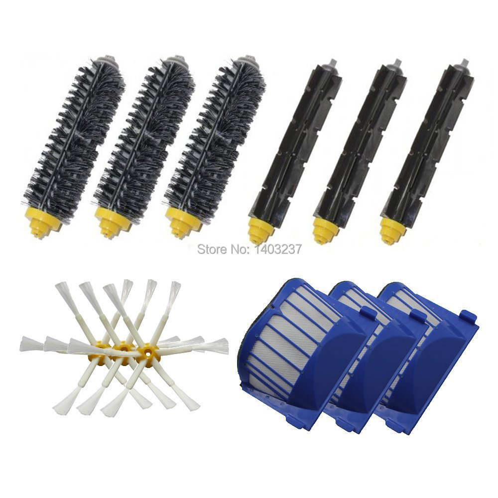 Aero Vac Filter Bristle Brush Flexible Beater Brush  6-Armed Side Brush  Kit For IRobot Roomba 600 Series (620 630 650 660 680) aero vac filter bristle brush flexible beater brush 3 armed side brush tool for irobot roomba 600 series 620 630 650 660