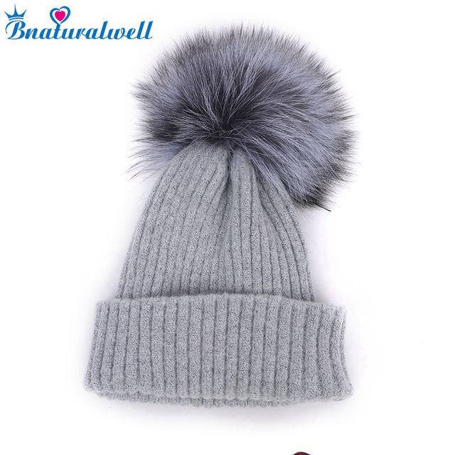 Bnaturalwell Toddler pom pom hat Child winter hat with real fox fur pom pom  Kids knit merino hats Toque beanie Soft warm H024 2c41fb459464