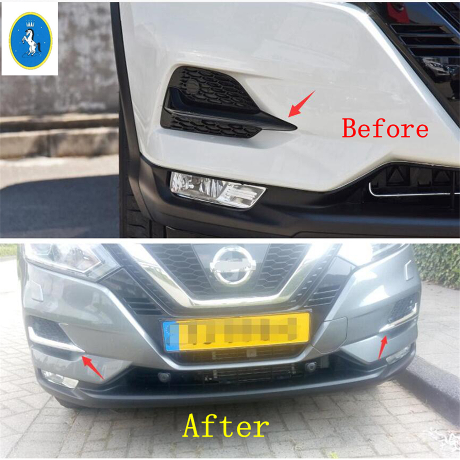 Image 2 - Yimaautotrims Front Fog Lights Lamp Eyelid Eyebrow Cover Trim For Nissan Qashqai J11 2018 2019 ABS Chrome / Carbon Fiber Look-in Chromium Styling from Automobiles & Motorcycles
