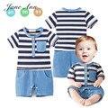 Macacão de bebê menino de manga curta listrada azul bolso macacão infantil criança estilo Americano verão de algodão roupas de casamento