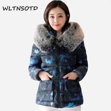 2017 autumn winter new coat women short fur collar pocket zipper camouflage fashion jacket Female fashion warm printing Parkas