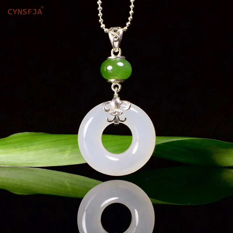 Certificado Natural Hetian Jade Incrustada 925 Sterling Silver Sorte Encantos Paz Fivela Pingente de Jade de Alta Qualidade Presentes Maravilhosos