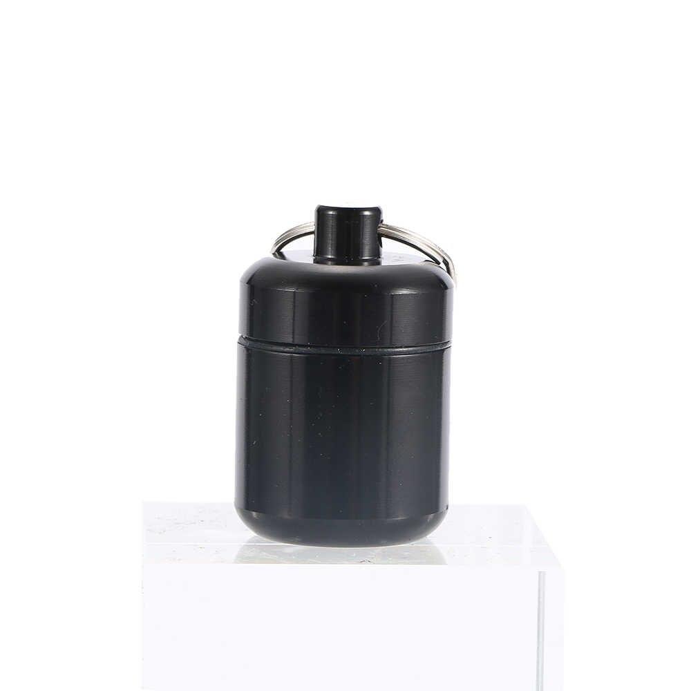 2019 impermeable caja de pastillas de aluminio caja de botella de caché soporte de drogas contenedor llavero medicina caja cuidado de la salud música nota llavero