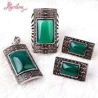 מלבן ירוק Agat אבן חרוזים בסגנון עתיק טיבטי כסף סגנון אופנה תכשיטי עגיל, Pandant, טבעת, משלוח חינם סיטונאי