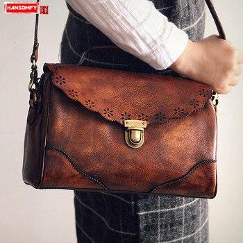 2018 new fashion Women Shoulder Bags retro vegetable tanned leather handmade rubbed slung bag crossbody Messenger Bags