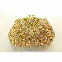 8309AB WhiteAB Crystal Floral flower Wedding Bridal Party Night hollow gold Metal Evening purse clutch bag handbag case box
