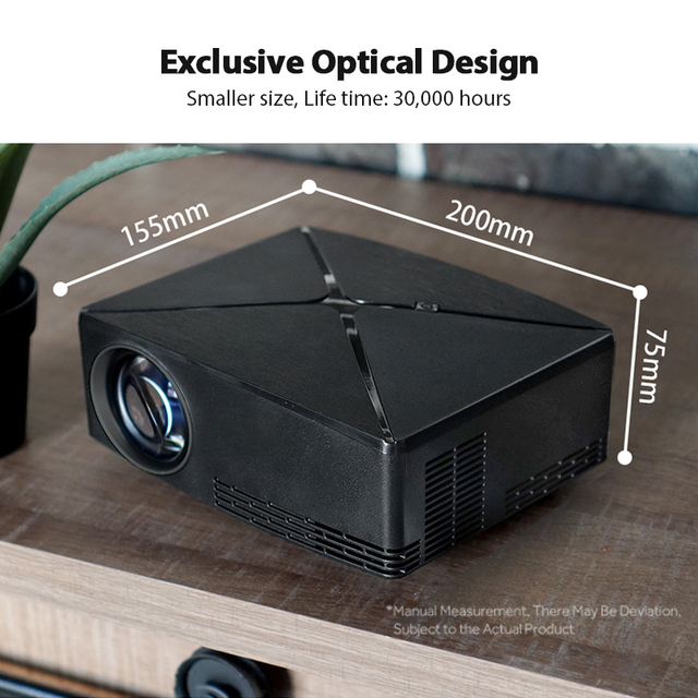 AUN MINI Projector C80UP, 1280x720P Resolution, Android WIFI Proyector, LED Portable 3D Beamer for 4K Home Cinema, Optional C80 3