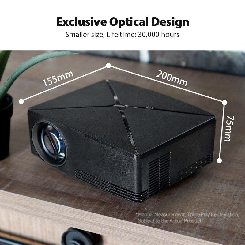 AUN MINI Proyector C80UP contra salpicaduras y bandeja para viruta, lámina de acero 1280mm para resolución de 720P Android WIFI Proyector... beamer 3D portátil LED para Cine en Casa 4 K, opcional C80 - 5