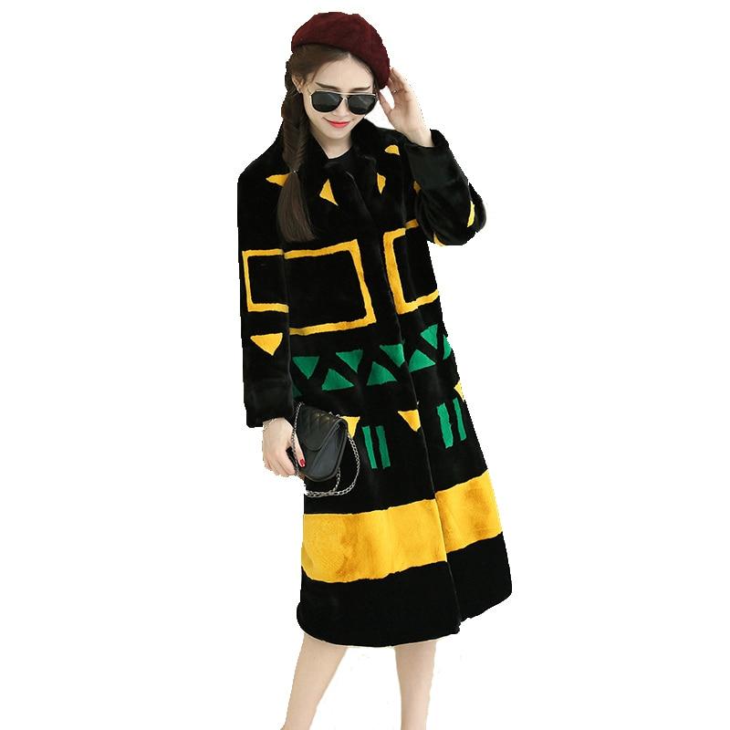 Nerazzurri Faux Fur Coat Women 2019 Winter Contrast Color Elegant Long Fluffy Fake Fur Overcoat Plus Size Furry Outwear 5xl 6xl