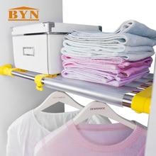 BYN Expandable wardrobe shelves wardrobe storage rack bathroom kitchen stainless steel closet storage shelf organizer DQ0778