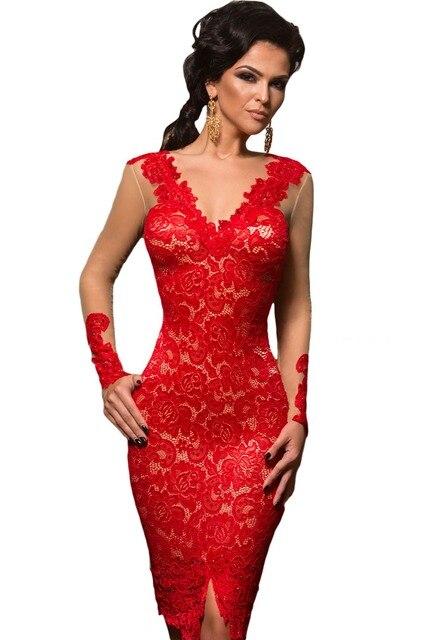 307364748f7a6b Vrouwen Lace Party Jurken Zomer Rode Applique Naakt Illusion Vrouwen Lange  Mouwen Midi Jurk Kerst Vestido