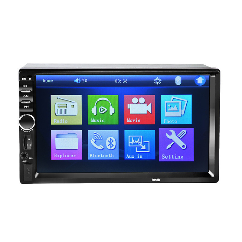 цена на 7018B 7 Bluetooth2.0 2DIN Car Radio Audio Stereo Player Handsfree TFT Touch Screen Car MP5 Player TF/SD MMC USB FM
