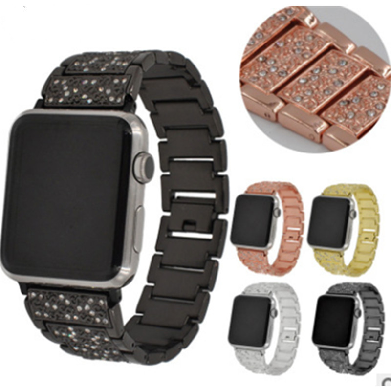 Applicable To For Apple Watch123 Generation Gor Apple Full Rhinestone Metal-Studded Steel Belt Stainless Steel Watch Belt