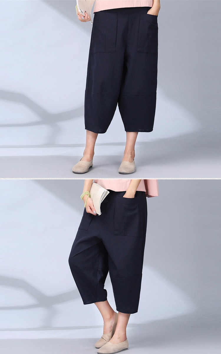 women calf length linen pants wide leg pants elastic waist sport pants casual loose solid trousers for women plus size L-2XL A10 a