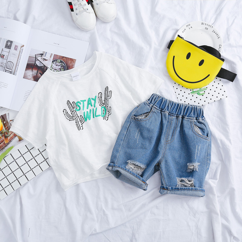 Baby Boy Clothes Set Summer 2018 Blouse+ripped Denim Shorts Suit Infant Boys Clothing Outerwear Sport Casual Cloth Baby Boy Sets