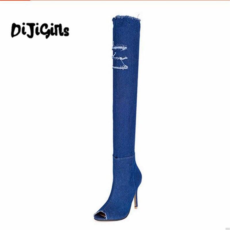 2017 Blue Denim Stiefel Overknee-schenkel-hohe Zerrissenen Jeans Stiefel Sommer Frauen High Heel Schuhe Quaste Stilett Pen Zehe Stiefel