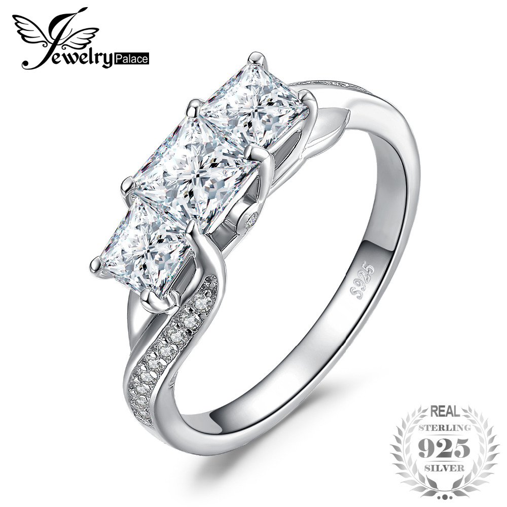 Jewelrypalace Twisted Cz Pave Band 3 Stone Pricess Cut