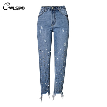 Beading Casual Jeans Lady Vintage Denim Blue Pants