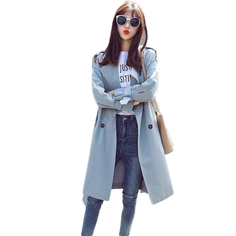 2019 Spring Autumn Fashion Women Long   Trench   Coat Double-Breasted Long Sleeve Outwear Loose Coat Ladies Casual Windbreaker M214