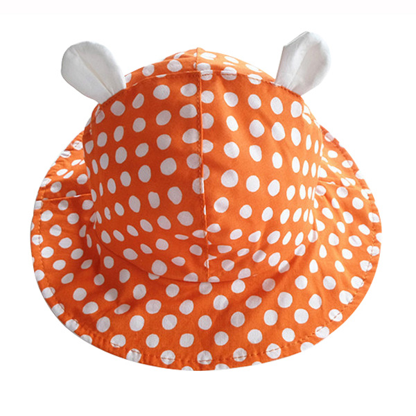 Lovely Baby Hats with Ears Dot Cotton Infant Baby Cap Summer Kids Sun Hat for 1-3 Years 3 Colors