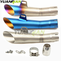 35 51mm Universal Motorcycle Double Exhaust Muffler Pipe FOR KAWASAKI YAMAHA MT07 MT09 MT 07 09 R1 R6 Z750 Z800 Z1000 Z900