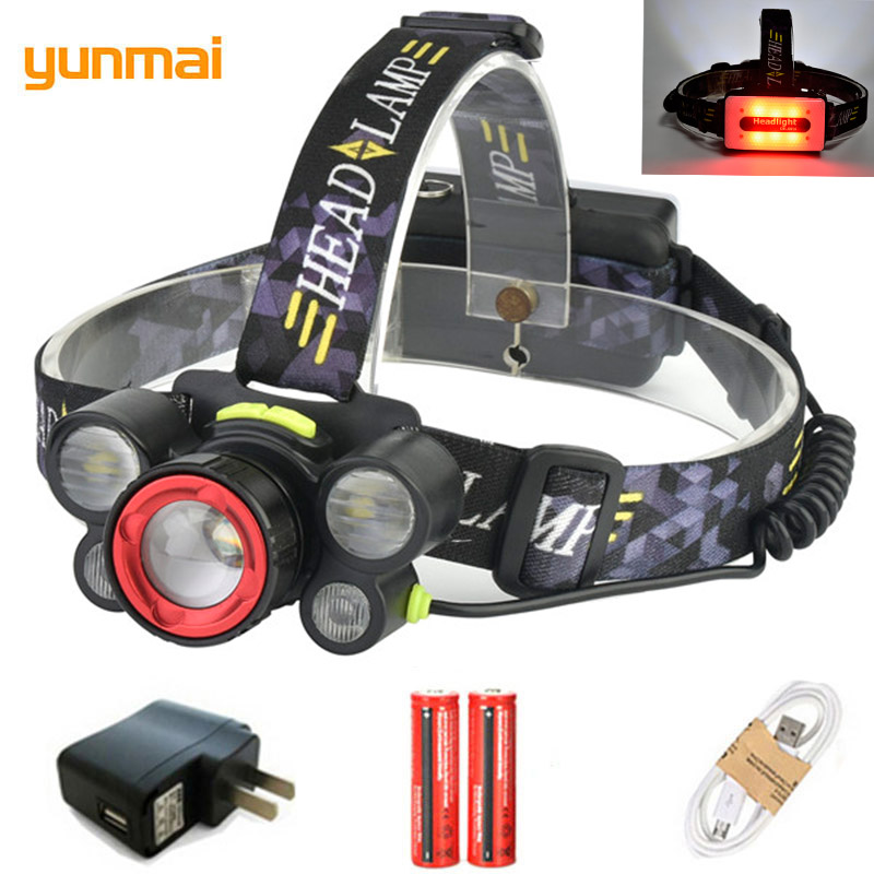 yunmai White+Red Light Headlamp Lantern 5 LED Powerful Zoomable Headlight USB Rechargeable 15000LM Head Torch Lamp Fish Zaklamp цена