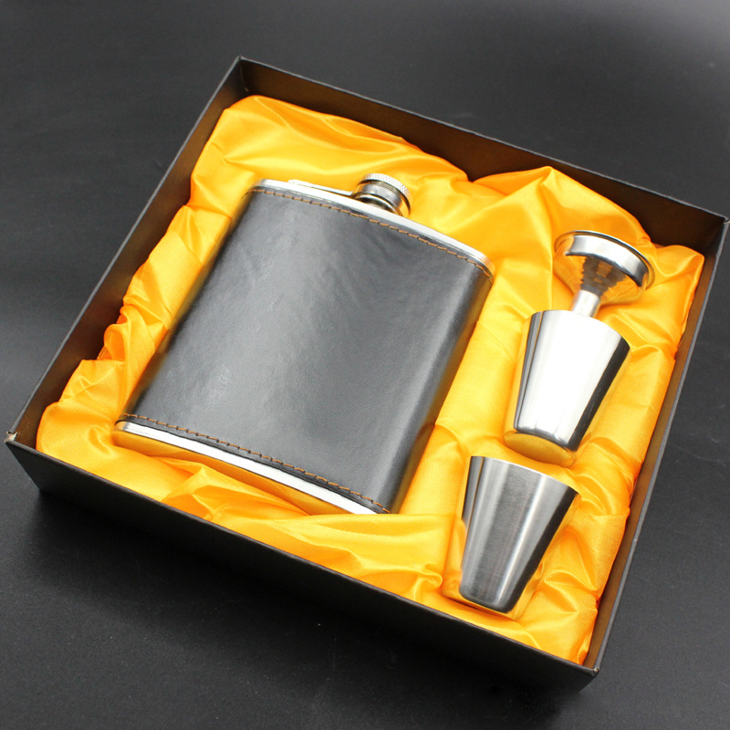 7oz Stainless Steel Hip Flask Flagon PU Leather Flasks Wine Beer Whiskey Bottle Alcohol Drinkware Liquor