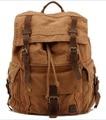 Unisex Vintage Crazy Horse Leather Canvas Men's Backpack Large Travel Backpack Military Canvas School Bag Rucksack Bagpack