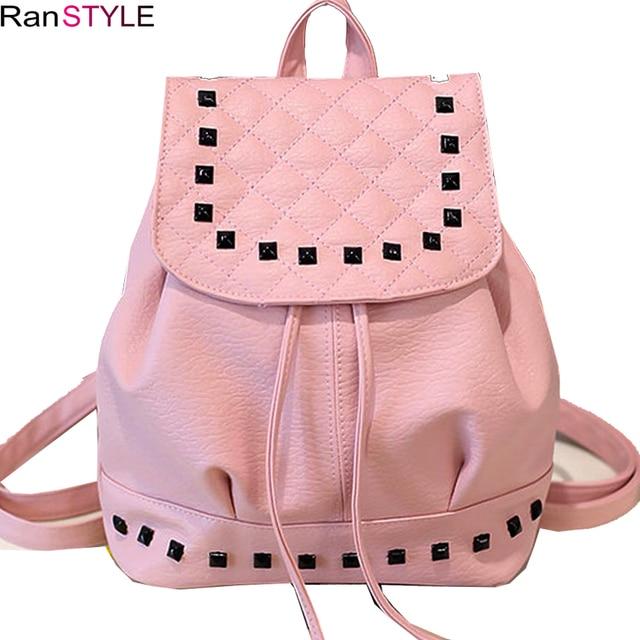 women backpack leather kawaii school backpack for girls pink black backpack  bag fashion Rivets drawstring backpacks 8b22384eaf466