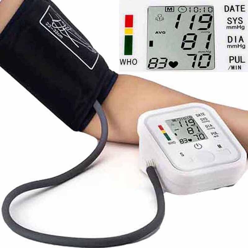 Cyfrowy Arm Monitor ciśnienia tętniczego krwi miernik maszyna pomiarowa metrów LCD automatyczny Uppere ciśnieniomierz serca nonvoice