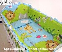 ¡Promoción! Juego de cama de cuna de algodón para bebé de León 6 piezas para niños aplique cama de parachoques para bebés (parachoques + sábana + funda de almohada)