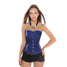 satin corsets and bustiers / lingerie / push up blue flower print