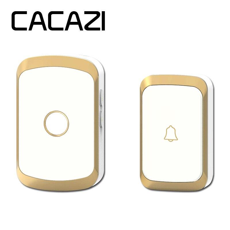 CACAZI black/gold/silver wireless doorbell waterproof AC 110-220V 300M remote door bell 36 melody 4 volume ring bell door chime ks v2 welcom chime bell sensor