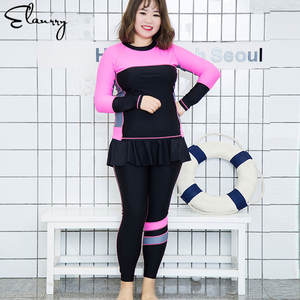 987eddbd48159 Women 2 Pieces Summer Swimsuit 6XL 2018 Plus Size Surfing Suits Lined Girl  Sexy Long