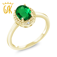 1 01 Ct Green Simulated Emerald White Diamond 18K Yellow Gold Plated Silver Ring