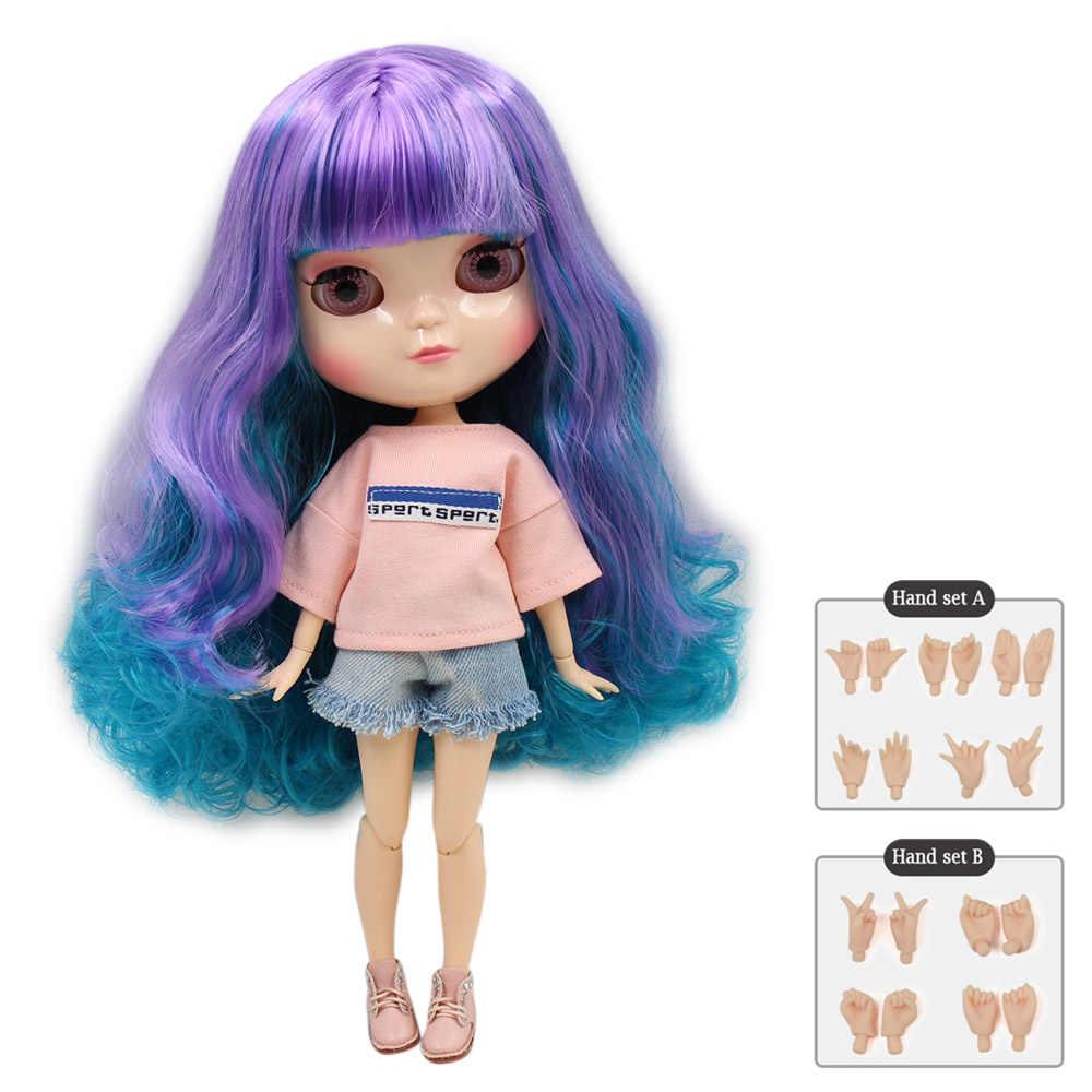 Azone BONECA ICY peito pequeno corpo mix roxo verde cabelo com franja/franjas 30cm incluindo mão definir UM & B F & D brinquedo No.230BL4302/7216