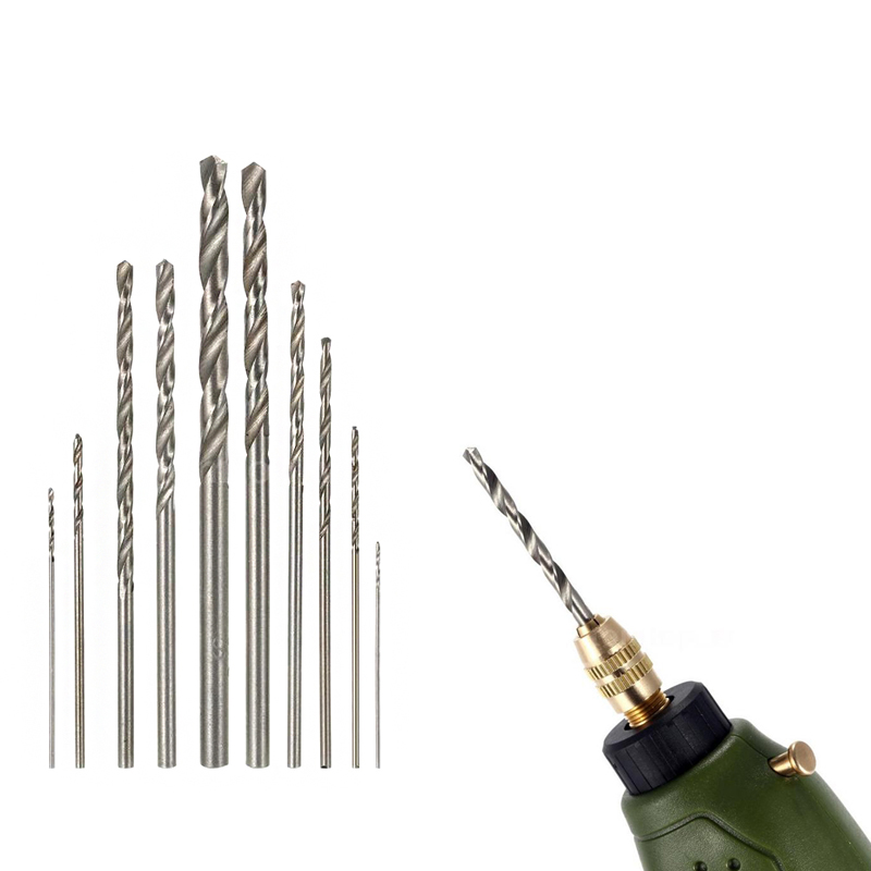 10Pcs Mini  Drill HSS Bit Set For Dremel Rotary Tool Electric Tools High Speed White Twist free shipping of 1pc hss 6542 made cnc full grinded hss taper shank twist drill bit 11 175mm for steel