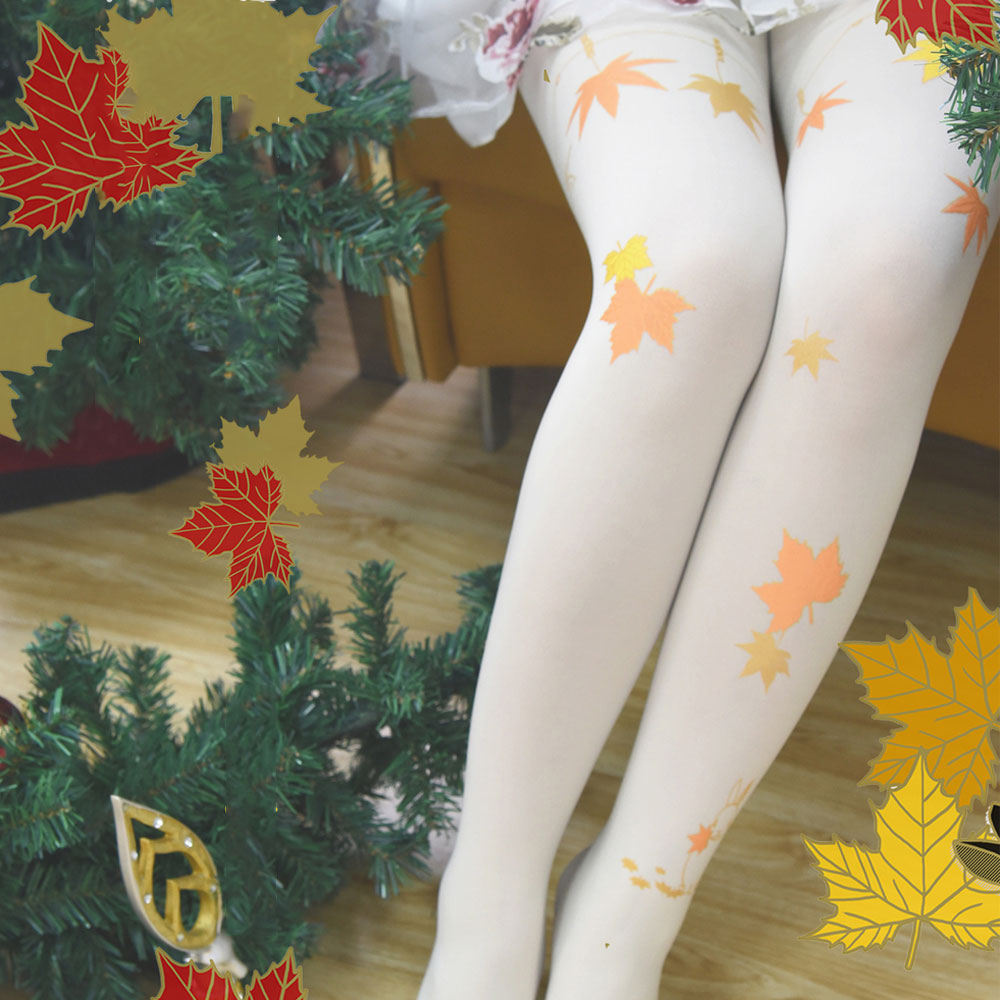 Buy Sweet Maple Leaf Printed Lolita Tights Japanese Style Women's Pantyhose